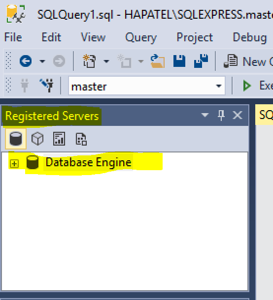 Registered server window in SQL Server Management studio SSMS
