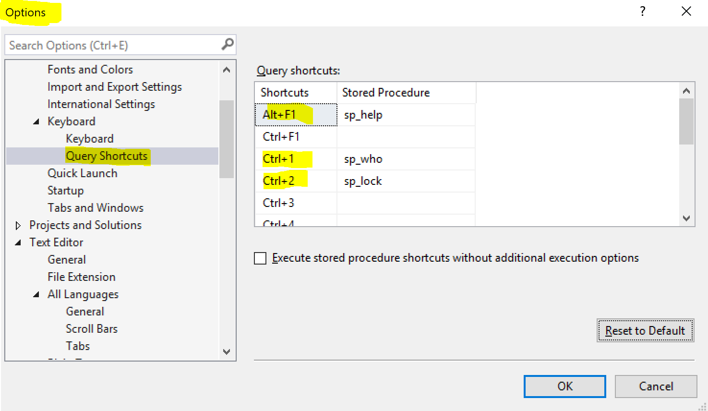 SSMS query shortcut option