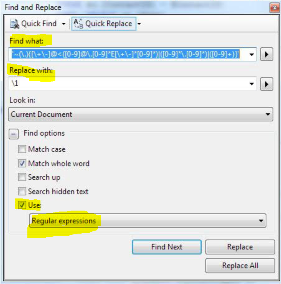 How to find and replace in SSMS using regex